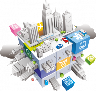 An artist's illustration of a smart city