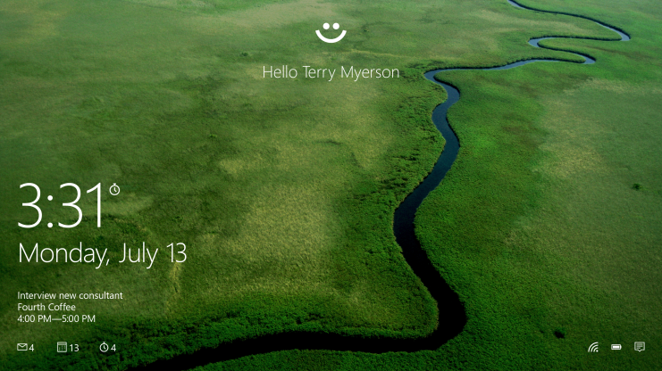 Windows Hello biometric authentication