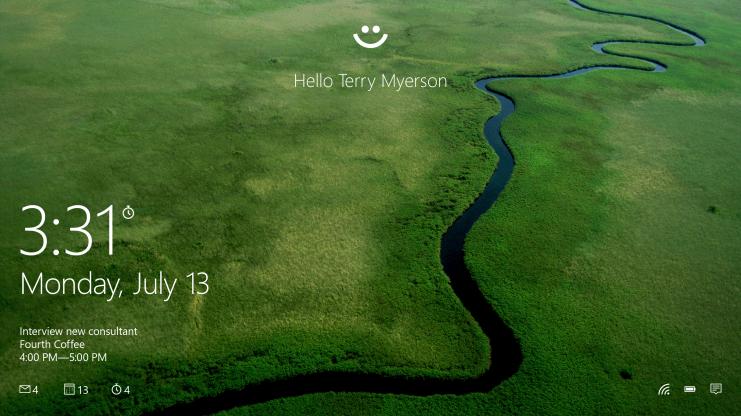 Windows Hello biometric authentication