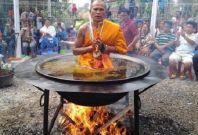 Buddhist monk captured meditating in