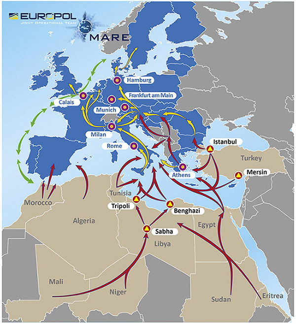 African migrants' route to UK