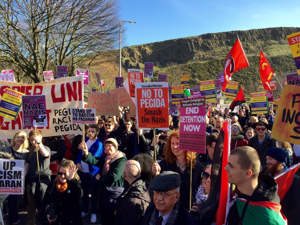 Anti facist march Edinburgh Scotland March 2015