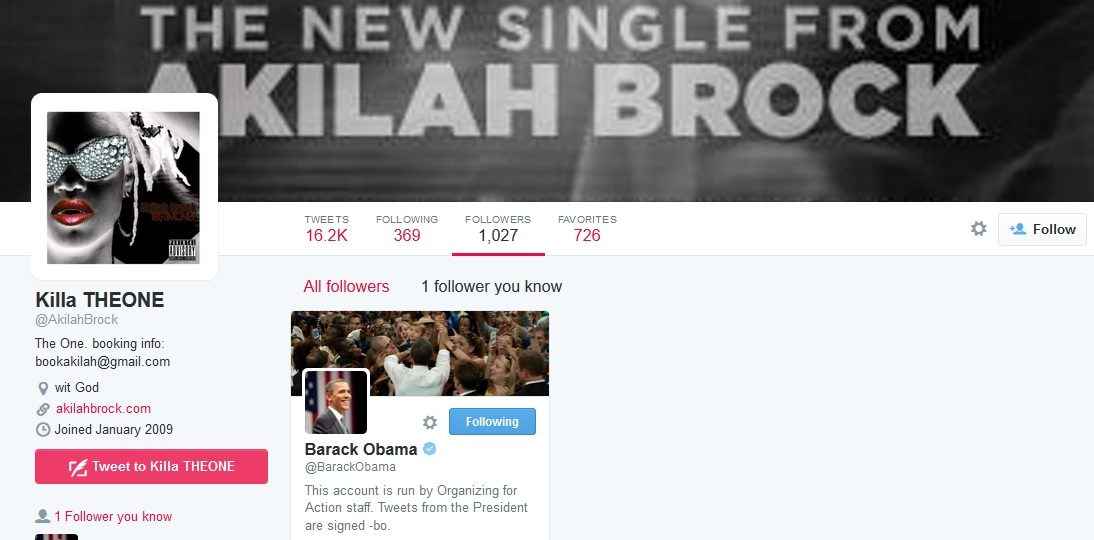akilah brock followed barack obama