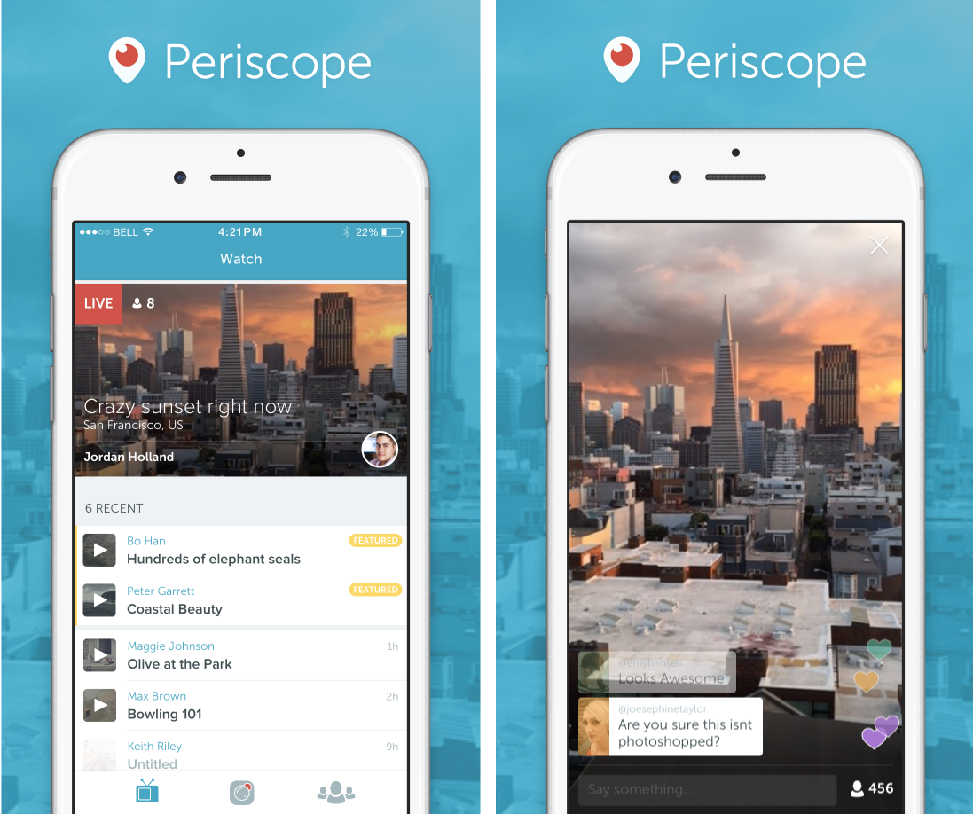 Periscope vs Meerkat live video streaming