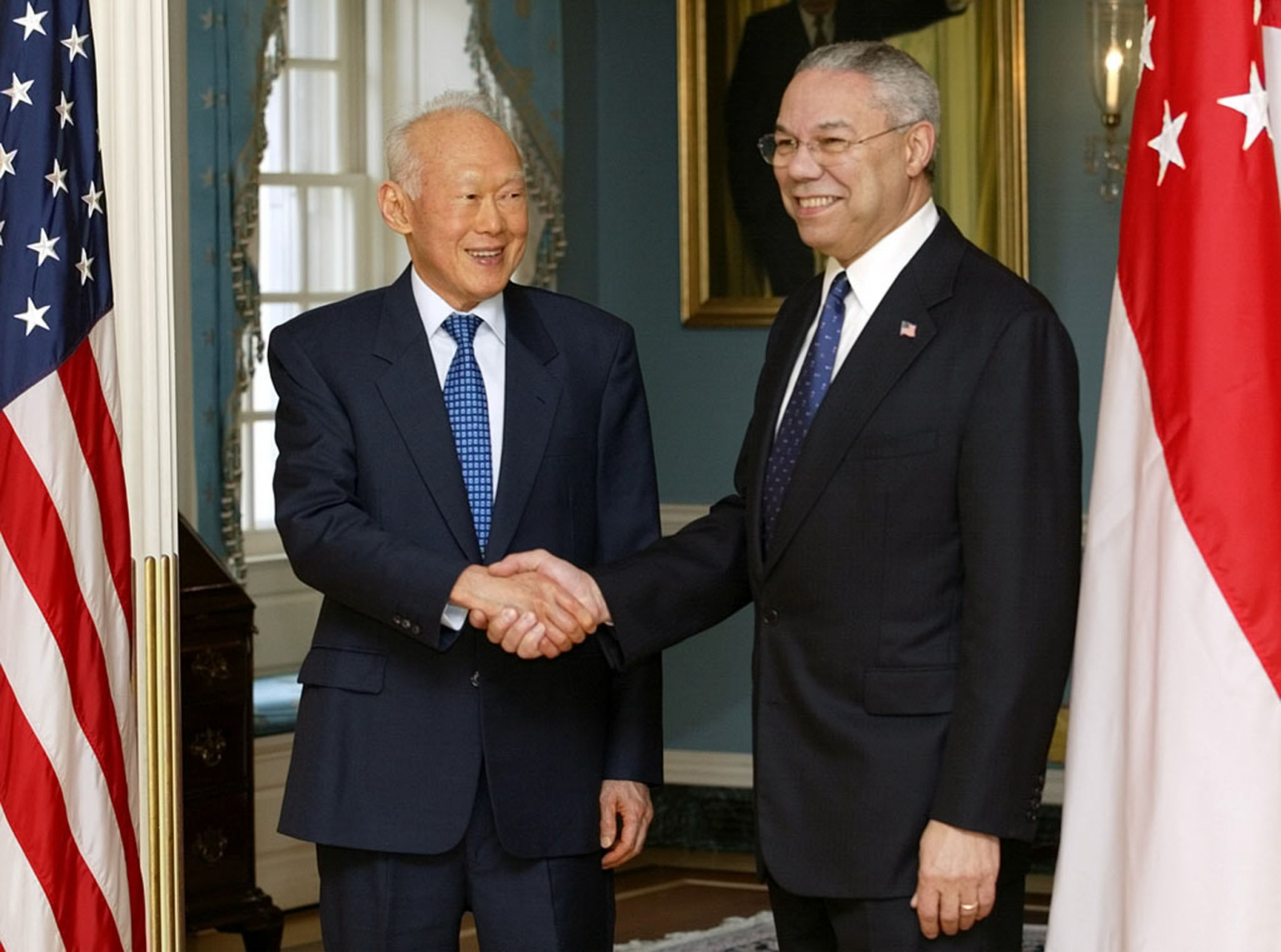 Lee Kuan Yew and Colin Powell