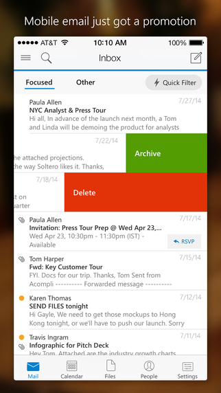 1 Microsof1 Microsofmail At Abc Microsoft Company: Microsoft Outlook 1.1.2 For IOS Lets Users Manage