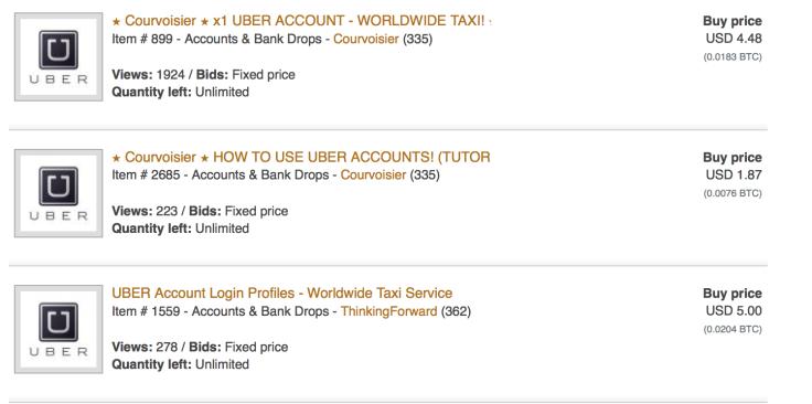 Uber accounts on sale on dark web