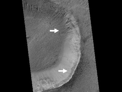 Gullies and Newly Identified Flow Features in Same Mars Crater