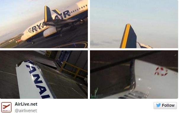 Ryanair planes collide on Dublin Airport runway