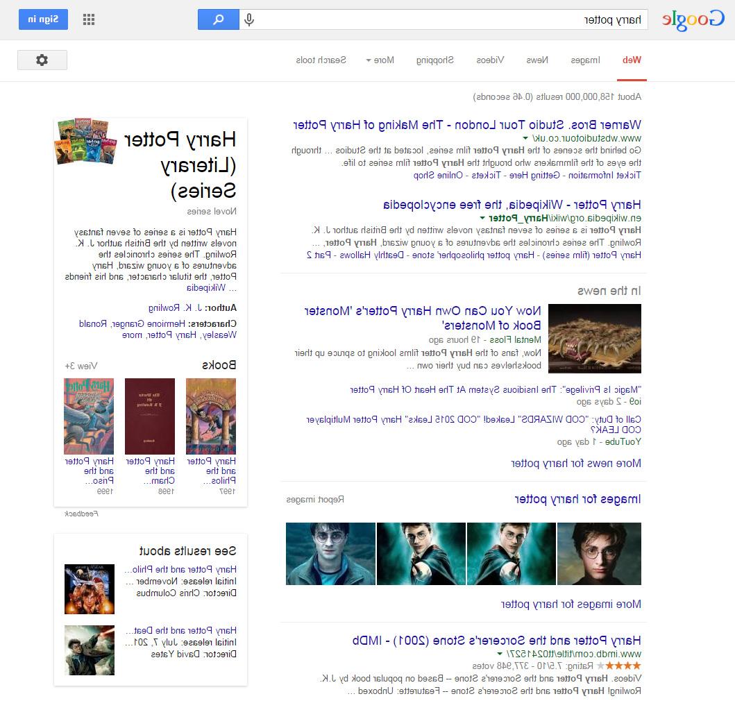 Google mirror version Harry Potter search