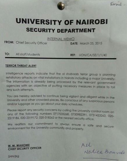 University attack security memo