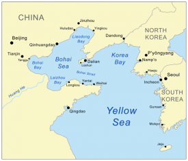 Yellow Sea and Korea Bay map