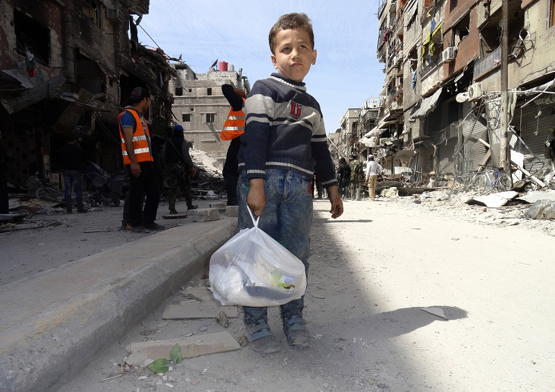 Yarmouk refugee camp Palestinian boy