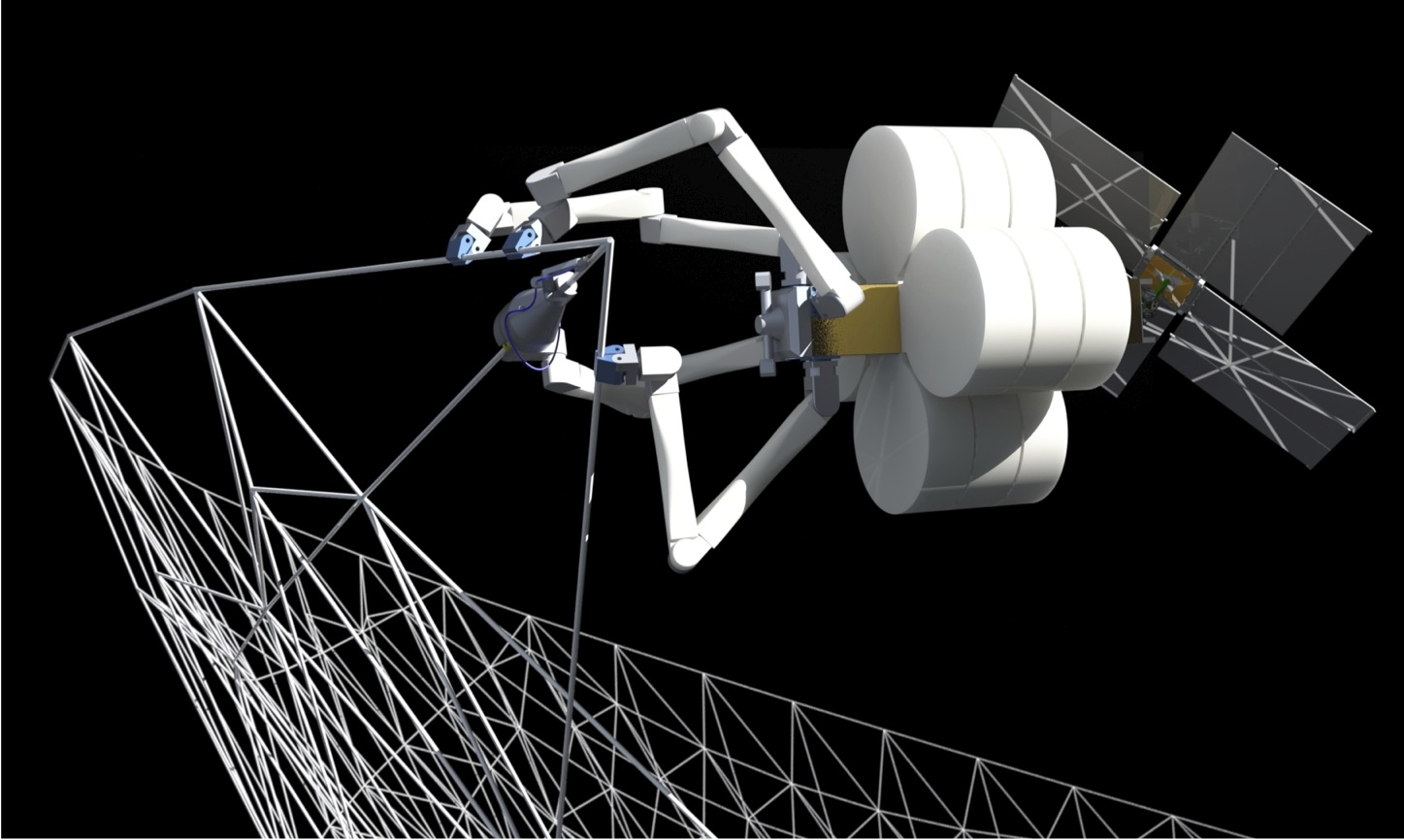 SpiderFab: Spider robots building structures in space