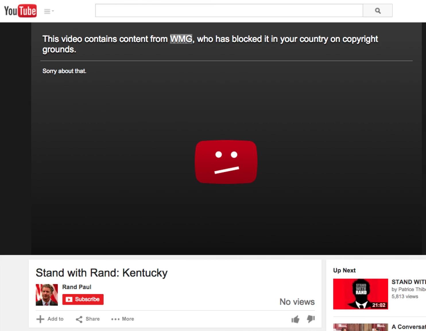 Rand Paul's video taken down by Youtube