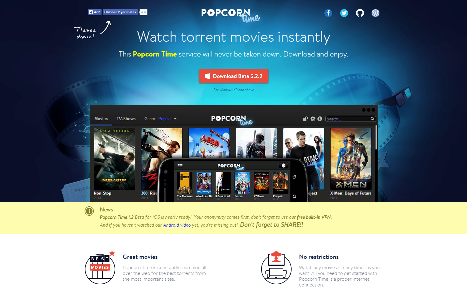 Popcorn Time is still going strong