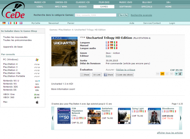 Uncharted Trilogy listing