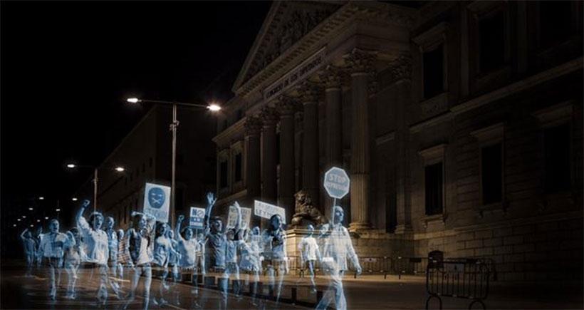 hologram protest anti-terror gag