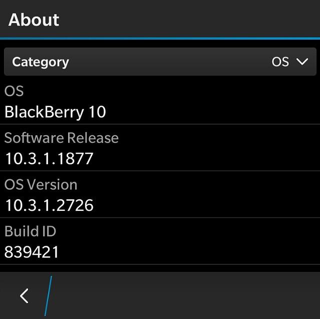 BlackBerry OS 10 3 1 2726 update leaked for BlackBerry