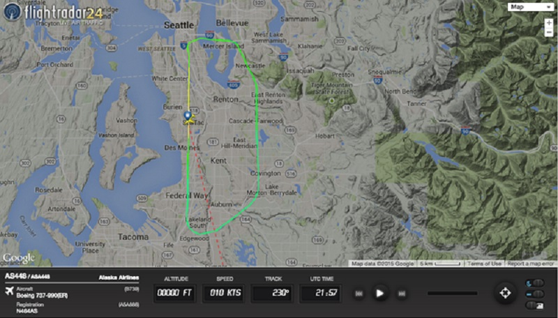 Flightradar track of Air Alaska flight