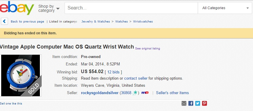 Apple Watch ebay listing