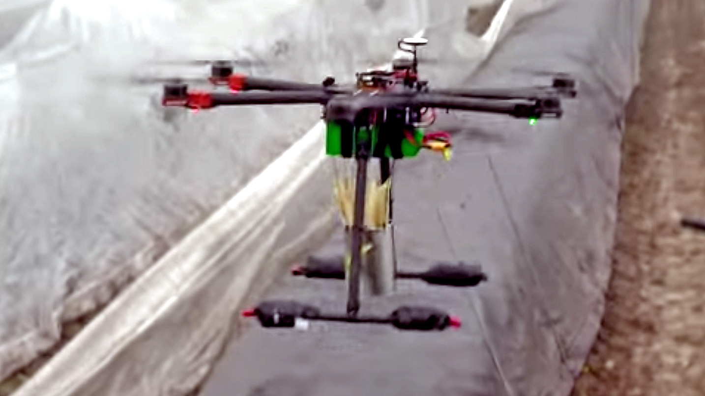 A drone carrying asparagus in the Netherlands