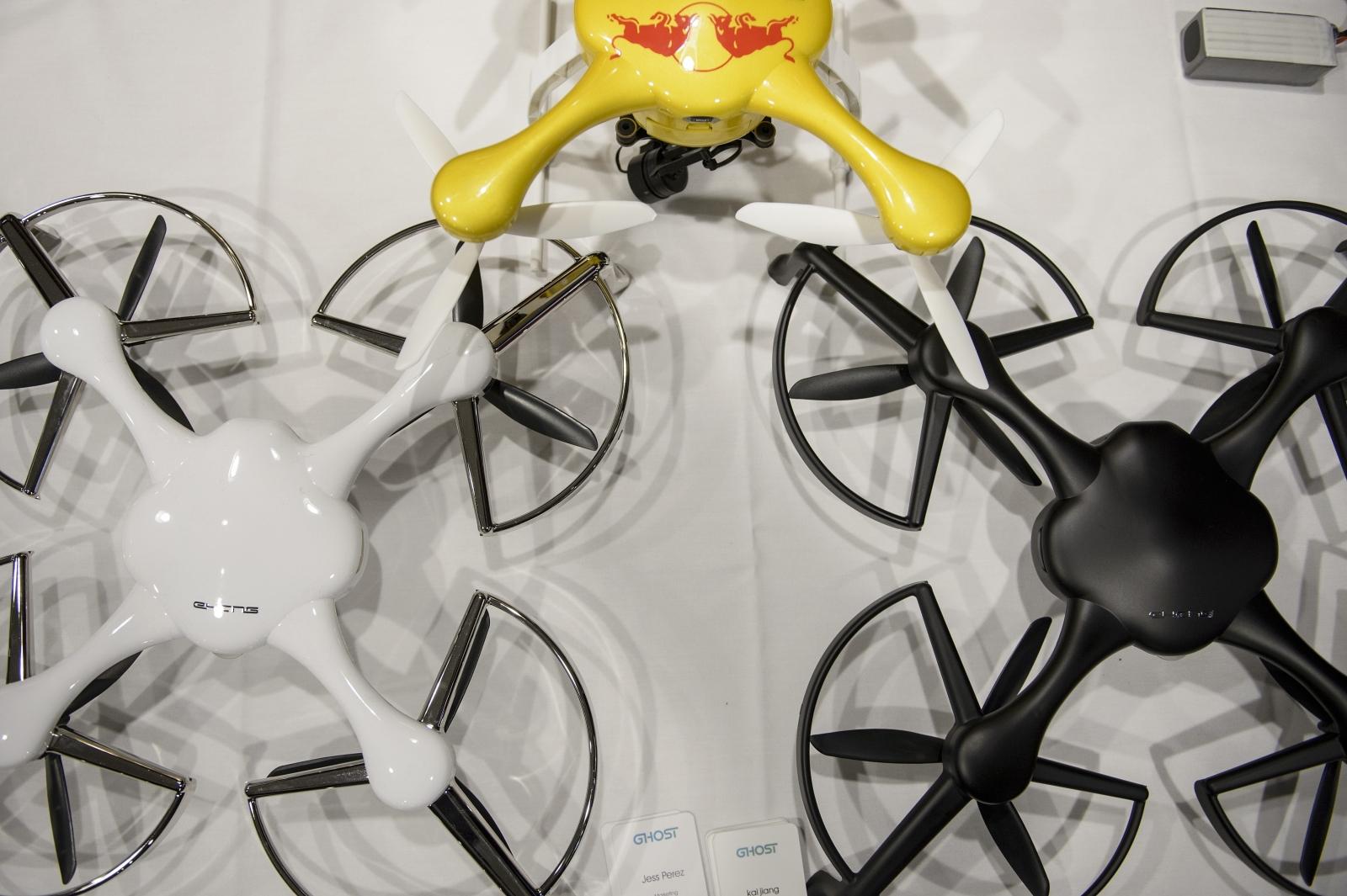 Drones at a UAV exhibition in USA