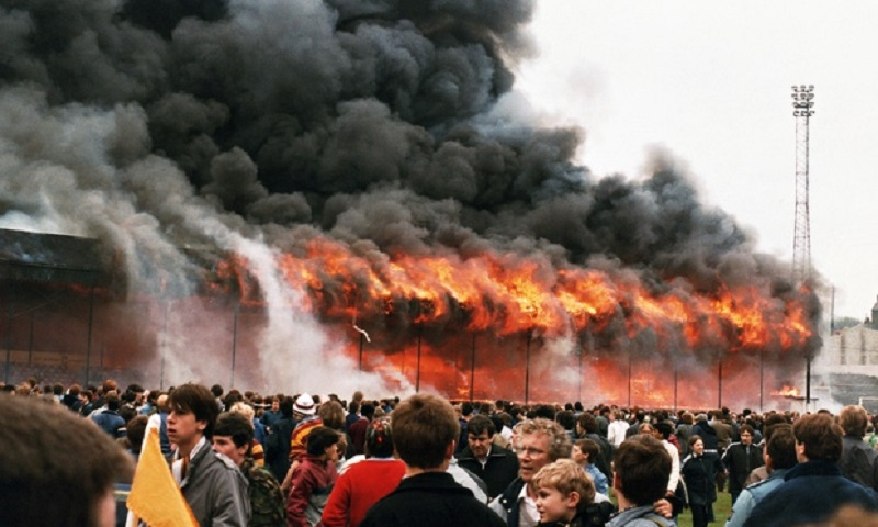 Bradford City's ground goes up in flames