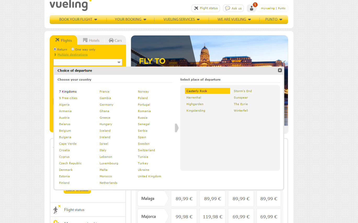 Vueling Game of Thrones
