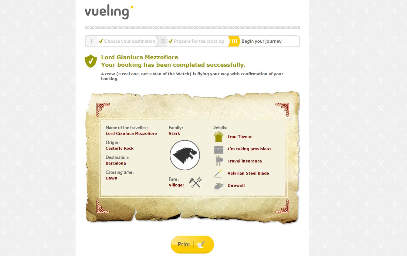 GoT Vueling