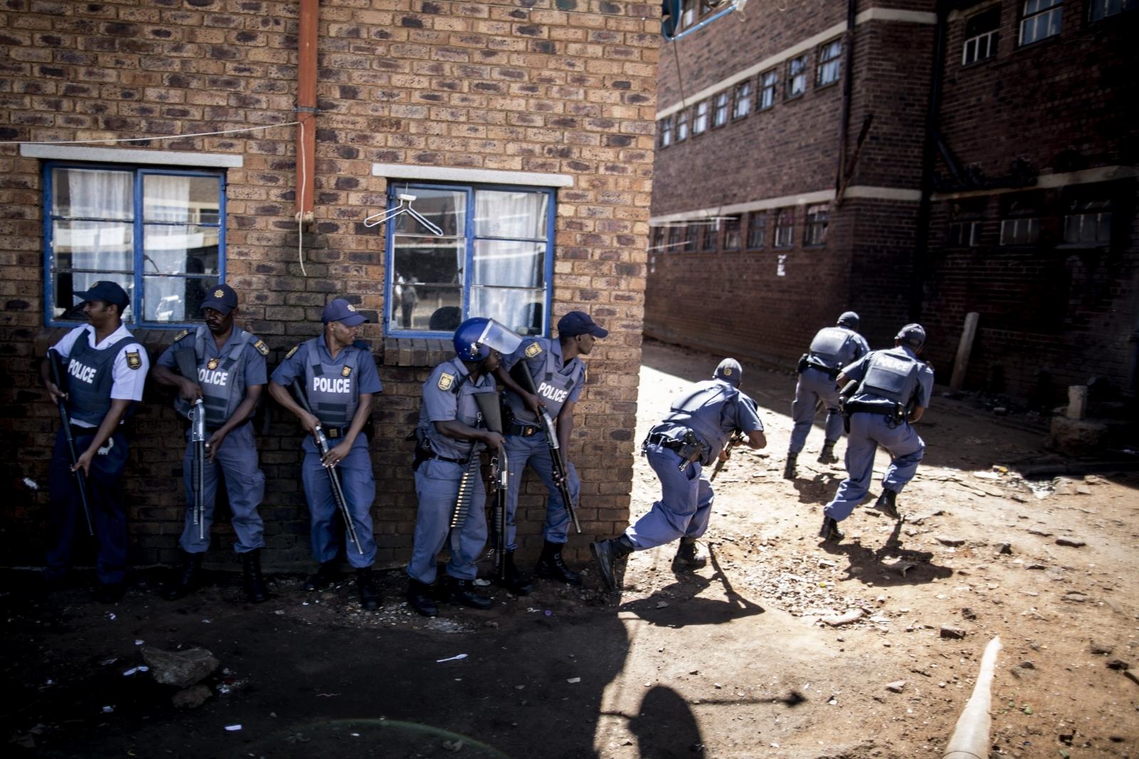 Riot police in Johannesburg