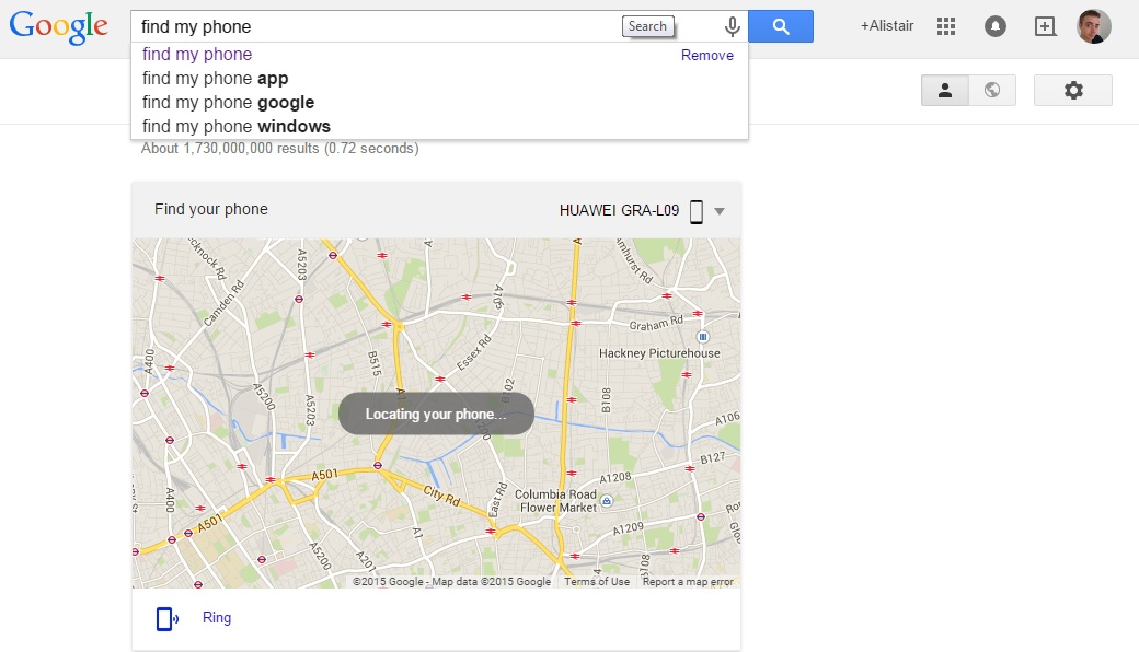 Google search to find your phone