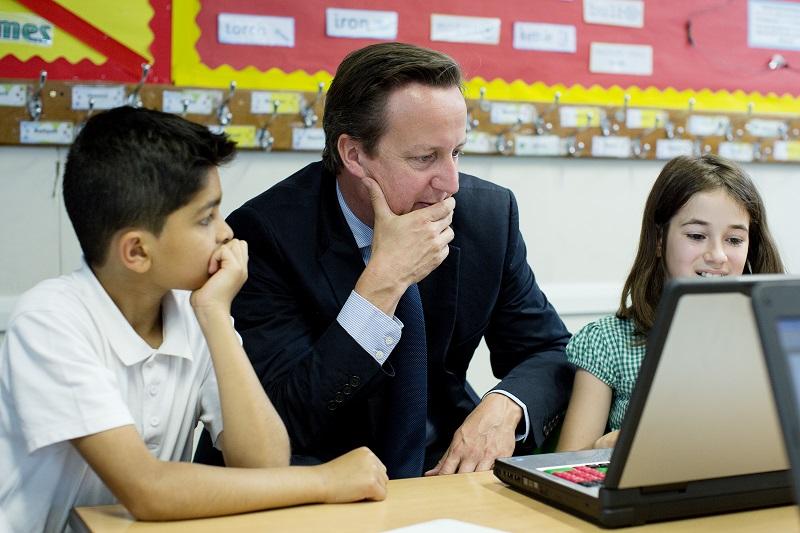 David Cameron with a computer