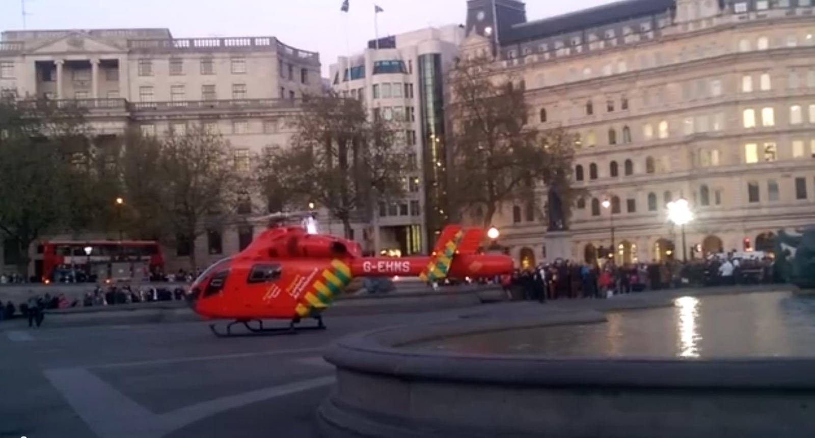 Trafalgar Square air ambulance lions