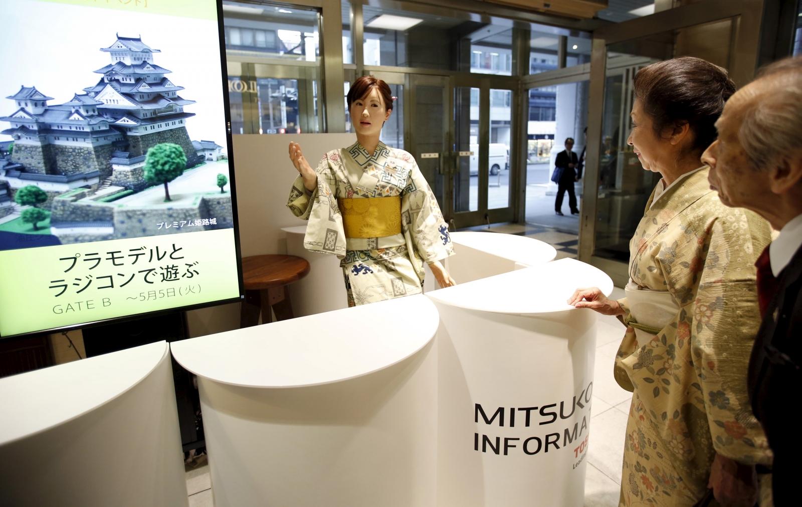 ChihiraAiko robot receptionist in Nihonbashi Mitsukoshi,