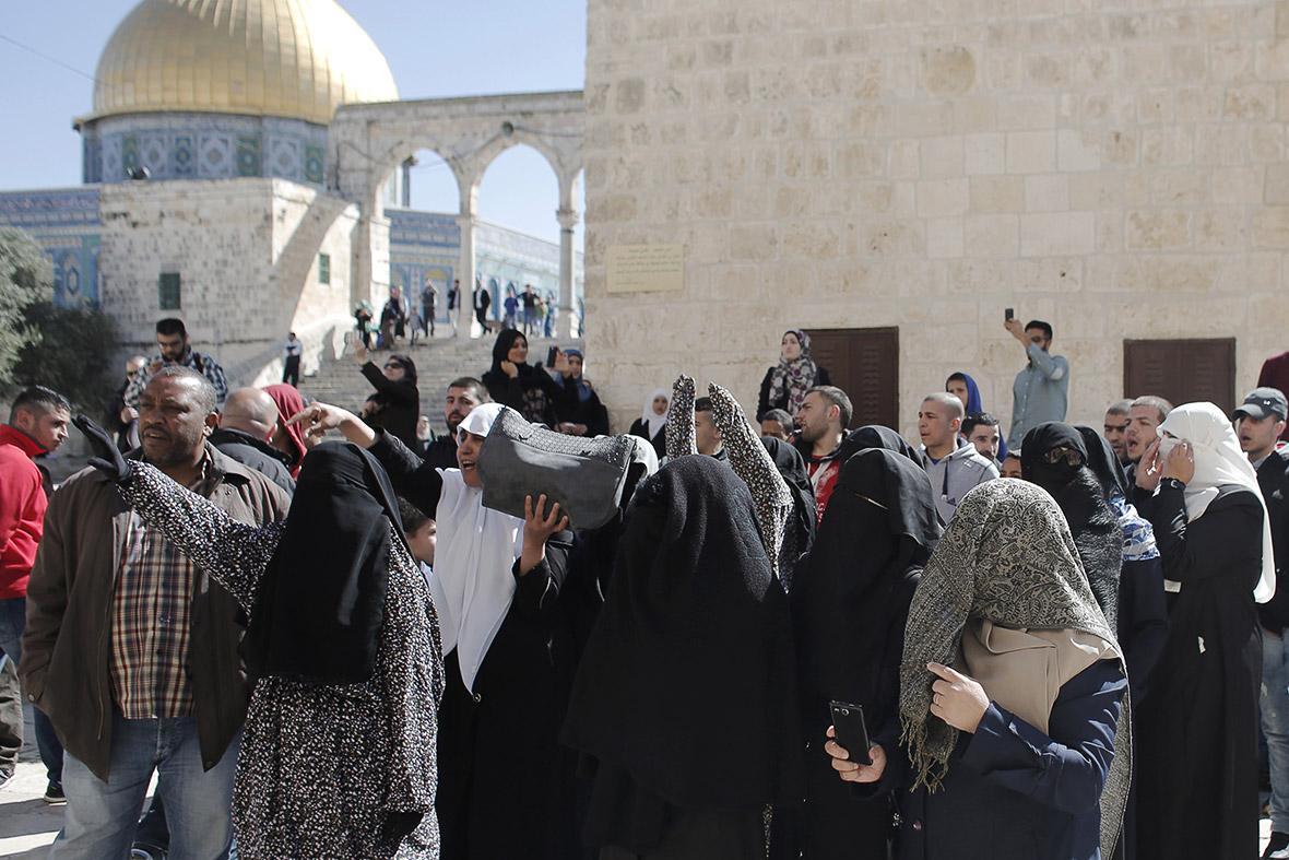 Palestinian women Temple Mount Jerusalem