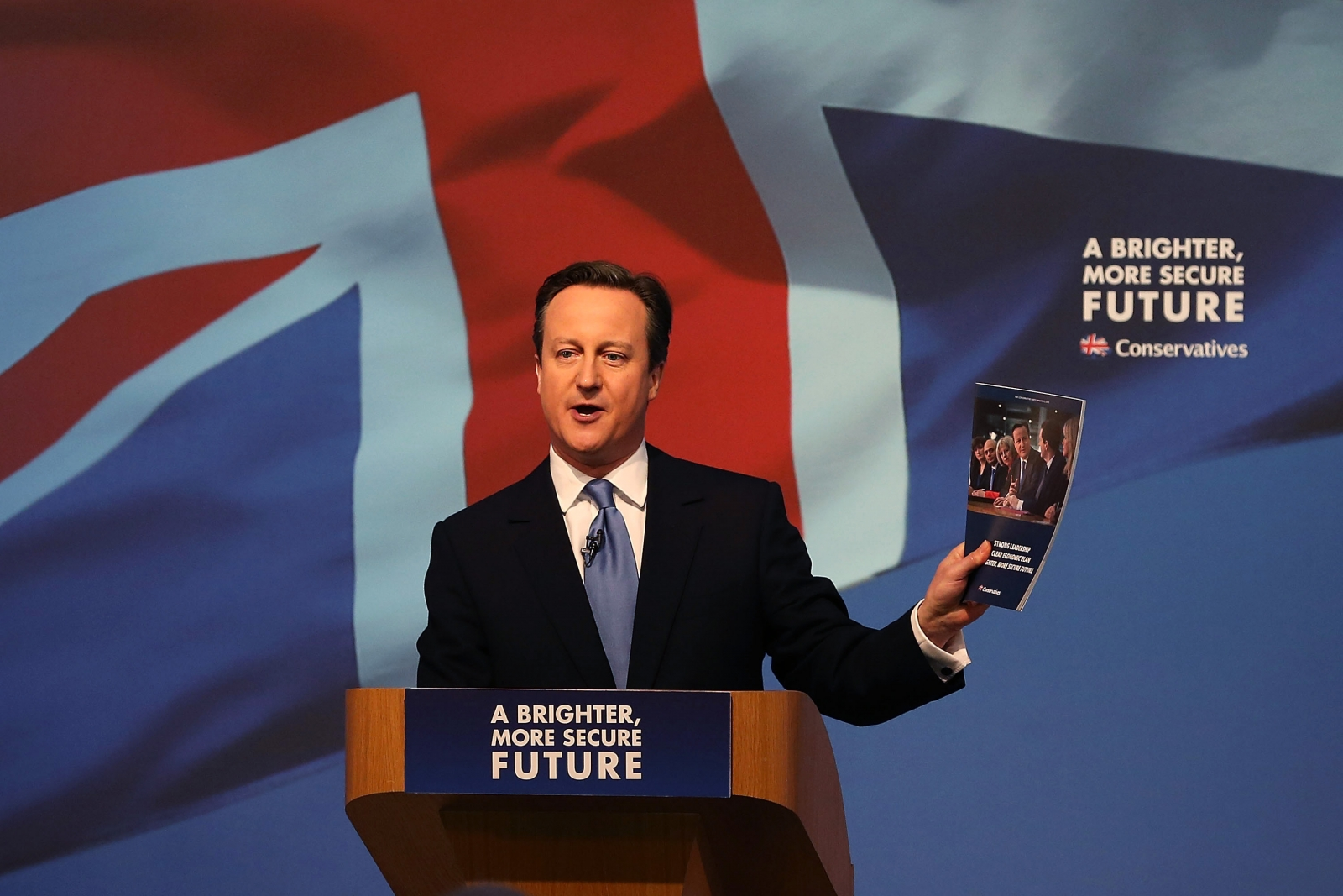 David Cameron with Conservative manifesto