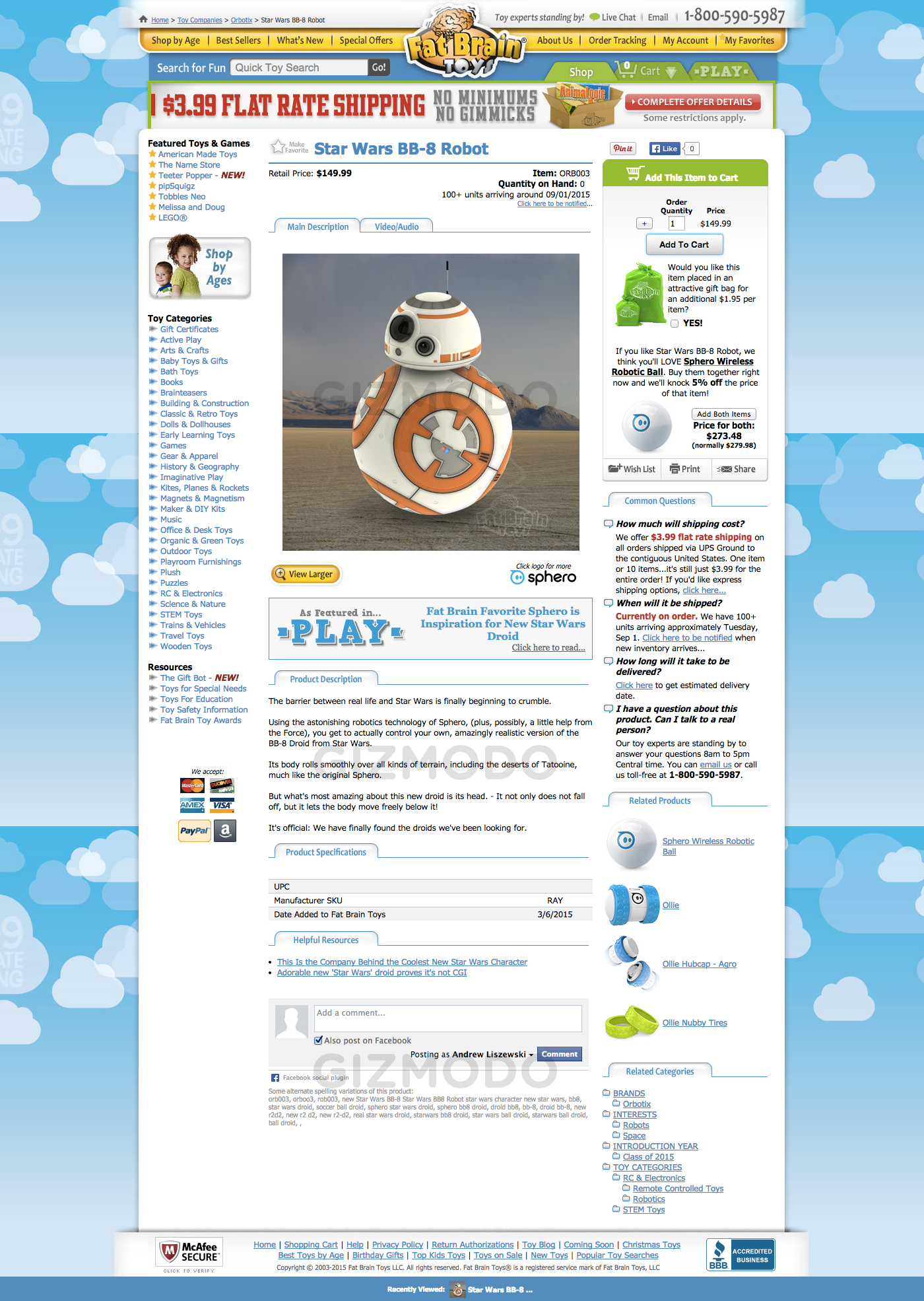 Leaked Fat Brain Toys listing BB8 toy