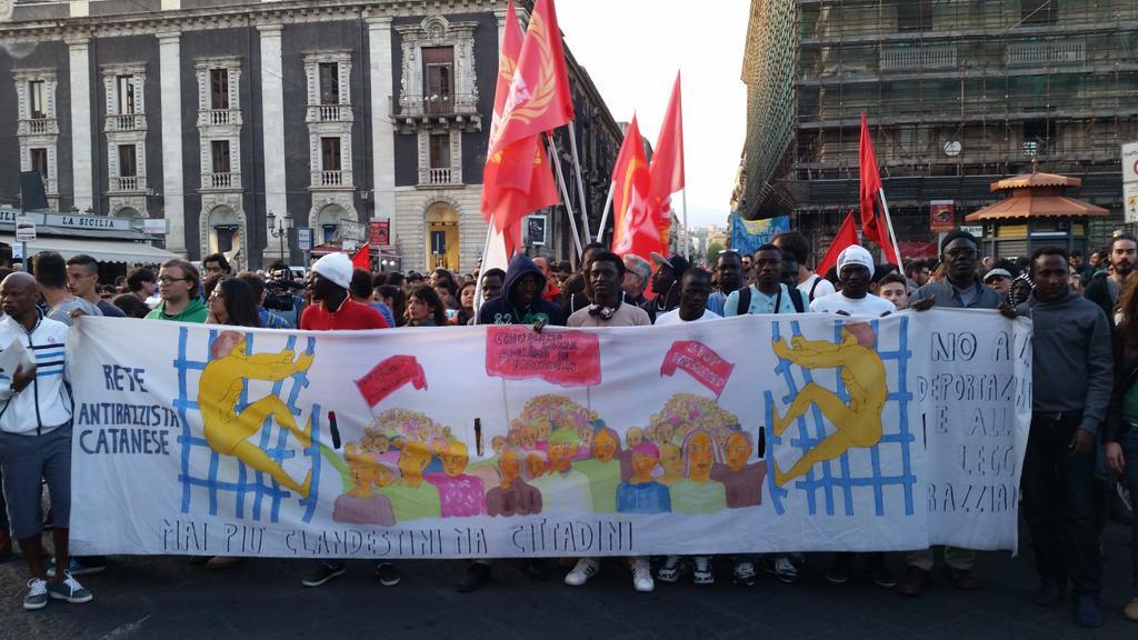 African migrants anti-racist demo Catania