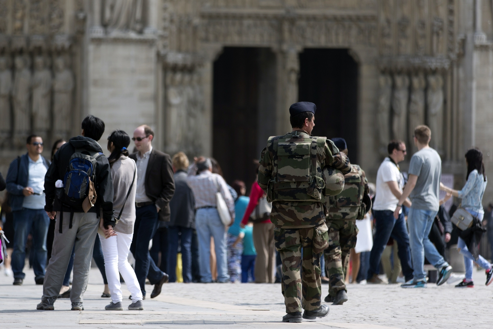 French police guard Notre Dam