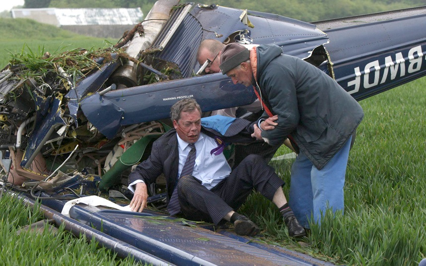 Nigel Farage suffers back pain in campaign