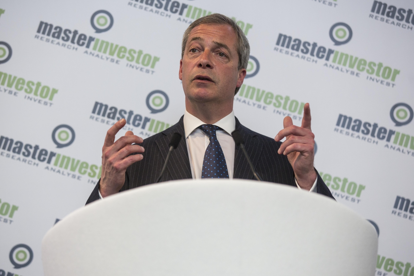 Nigel Farage at the Master Investor show