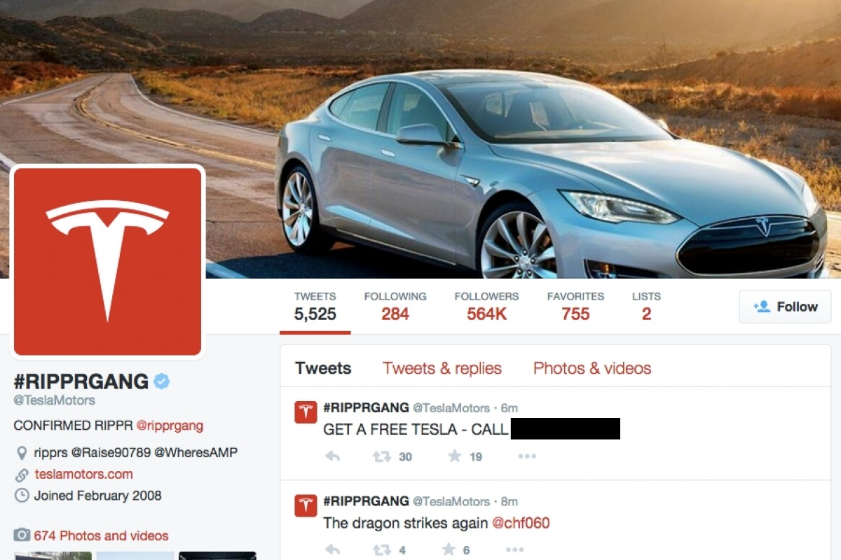 Tesla Twitter account hacked by Rippr Gang