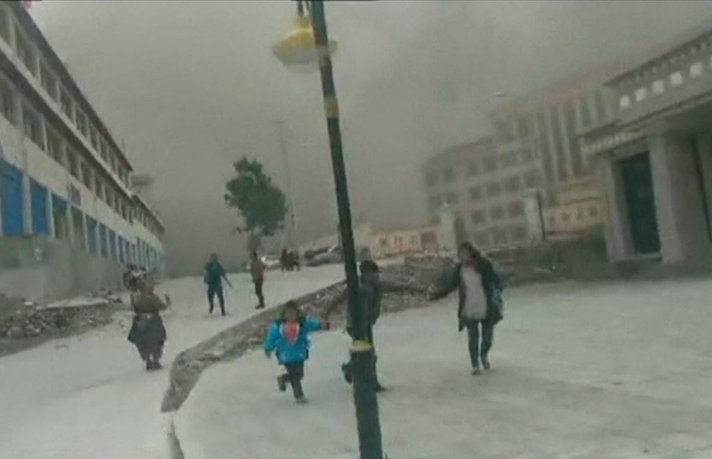 Tibet Earthquake Video Landslide