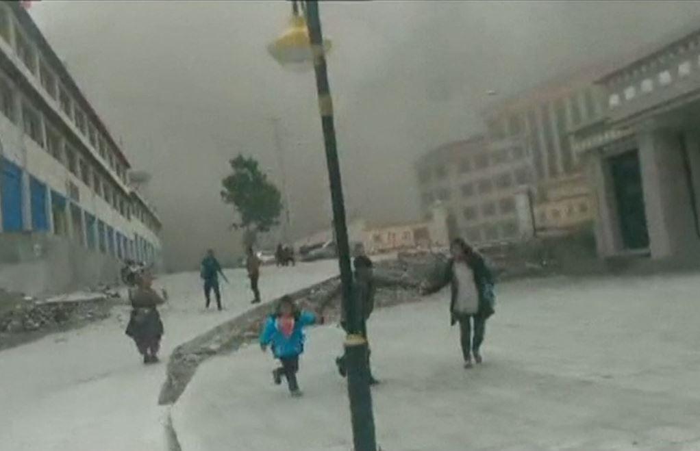 Tibet Earthquake Video Landslide