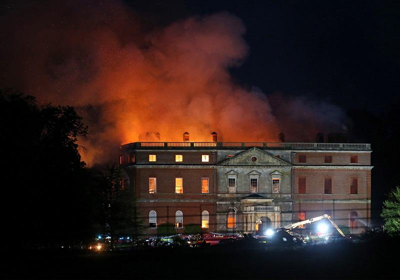 Clandon Park House on fire