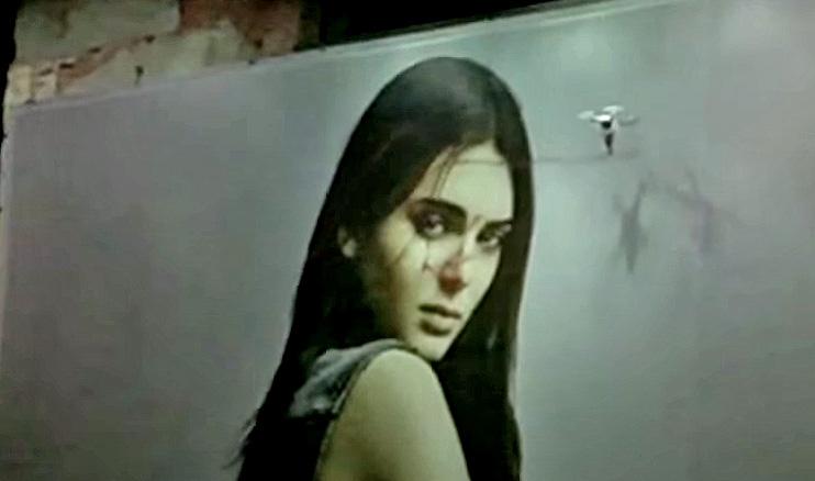 KATSU uses drone graffiti to deface billboard