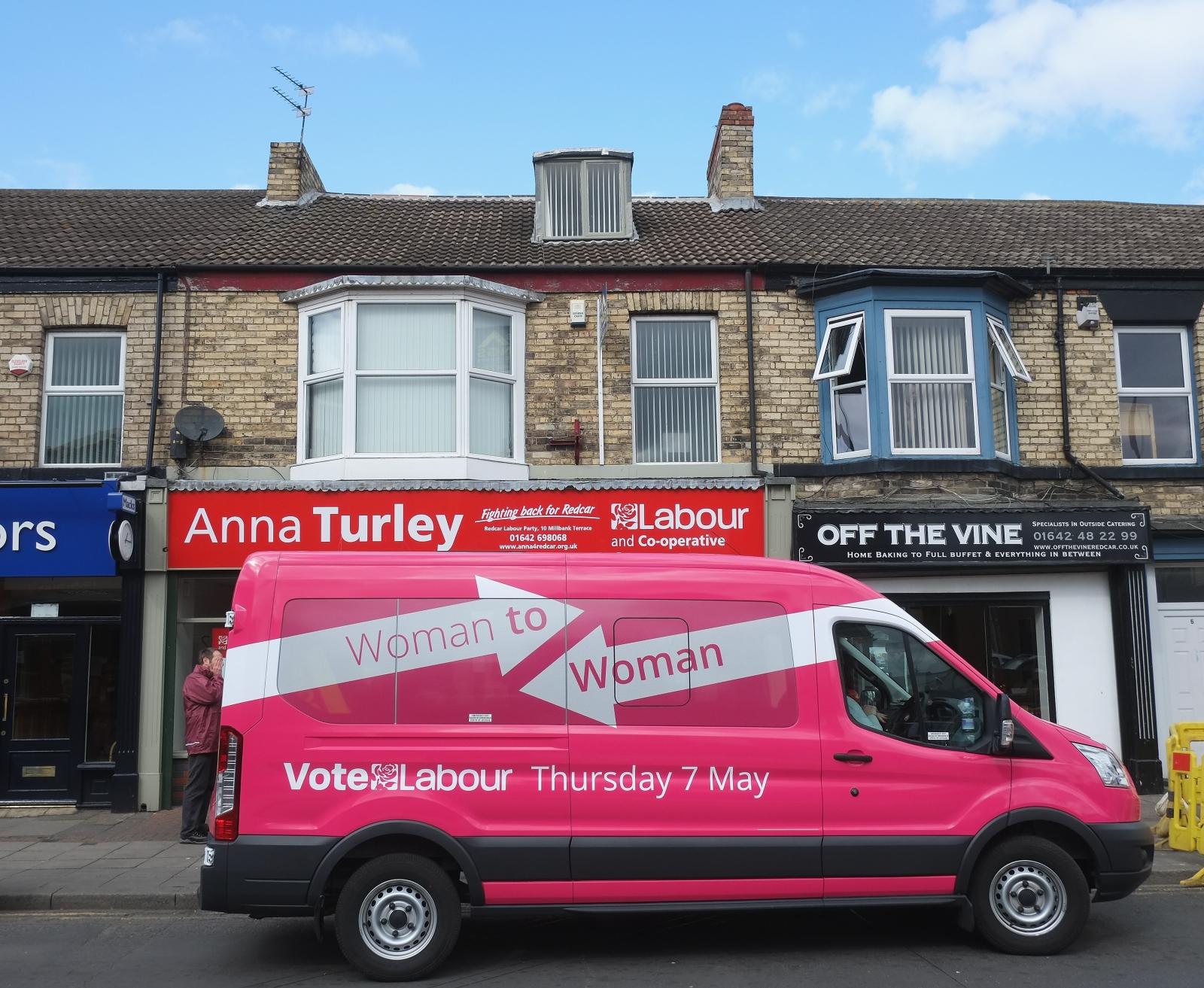 Labour pink bus