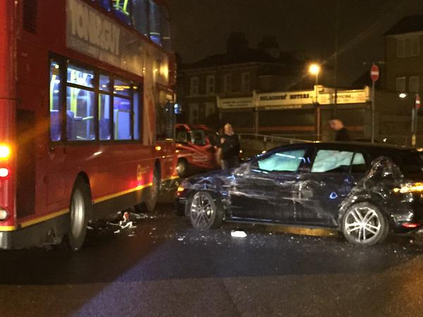 Car smashed in to bus in Blackheath