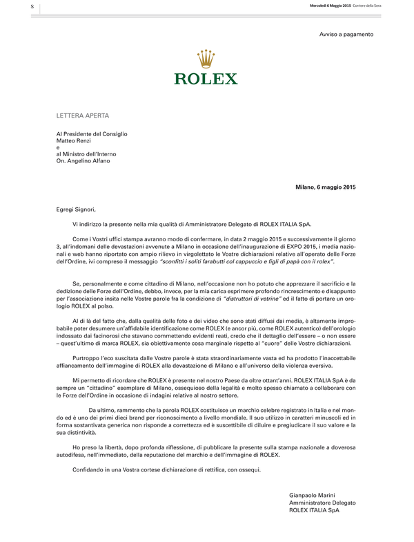 Rolex Expo 2015 Milan riots